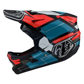 Casco integrale Troy Lee Designs D3 Fiberlite Vertigo Blue/Red