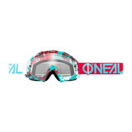 Maschera ONeal B-10 PIXEL Red/Teal - clear